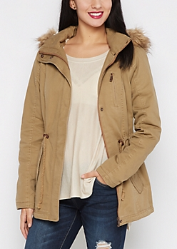 Light Brown Faux Fur Hooded Anorak