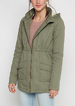 Olive Hooded Faux Fur Lined Coat