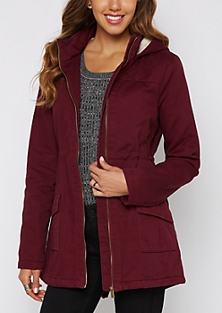 Burgundy Hooded Faux Fur Lined Coat