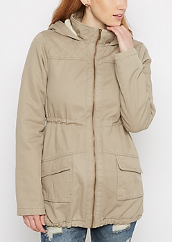Tan Hooded Faux Fur Lined Coat