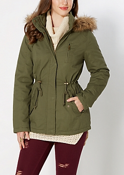 Green Faux Shearling Anorak