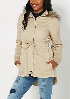 Khaki Quilted Faux Fur Anorak