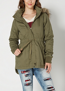Dark Olive Quilted Faux Fur Anorak