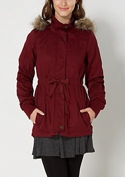 Burgundy Quilted Faux Fur Anorak