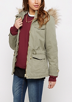 Olive Faux Fur Trimmed Anorak