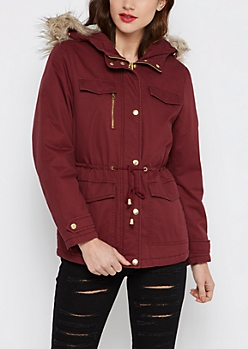 Burgundy Faux Fur Trimmed Anorak