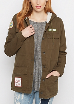 Military Patched Fur Anorak