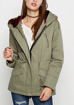 Dark Olive Faux Fur Hooded Anorak