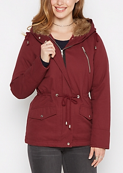 Burgundy Faux Fur Hooded Anorak