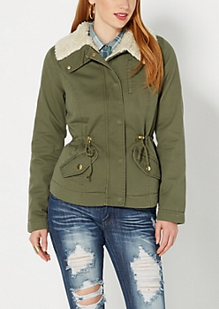 Olive Green Faux Sherpa Jacket