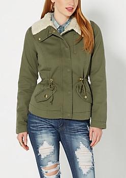 Olive Green Faux Sherpa Jacket