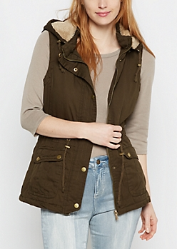 Hooded Faux Fur Anorak Vest