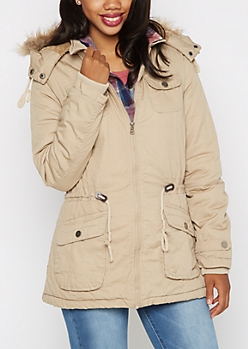 Khaki Vegan Fur Hooded Anorak