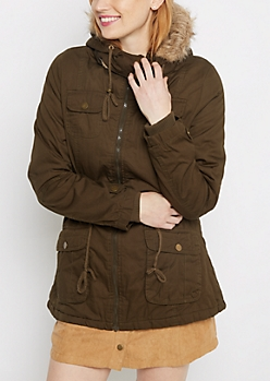 Olive Vegan Fur Hooded Anorak