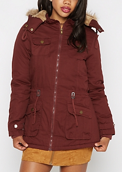 Burgundy Vegan Fur Hooded Anorak
