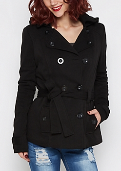 Black Faux Fur Hooded Pea Coat