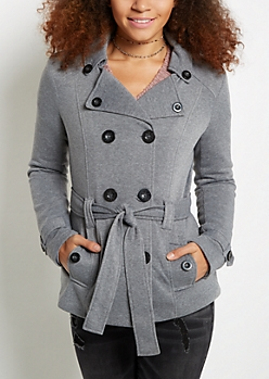Heather Gray Faux Fur Hooded Peacoat