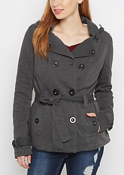 Charcoal Faux Fur Hooded Peacoat