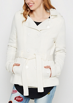Ivory Faux Fur Hooded Peacoat