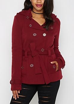 Burgundy Faux Fur Hooded Peacoat