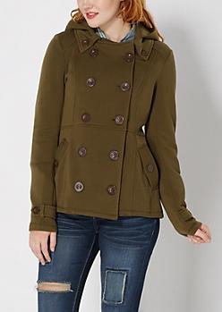 Dark Olive Hooded Pea Coat