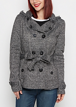 Marled Faux Fur Hooded Peacoat