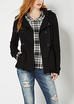 Black Fleece Lined Pea Coat