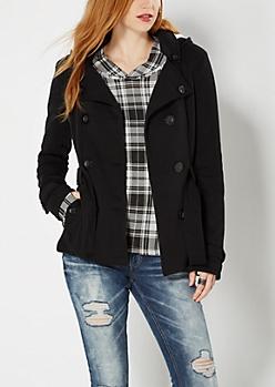 Black Fleece Lined Pea Coat