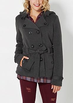 Charcoal Gray Fleece Lined Pea Coat