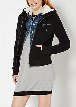 Black Double Zip Fleece Hoodie