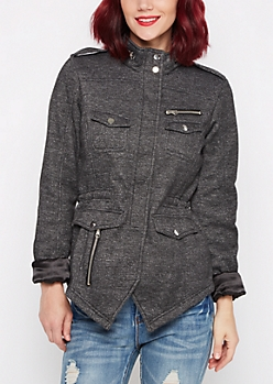 Marled Charcoal Knit Anorak Jacket