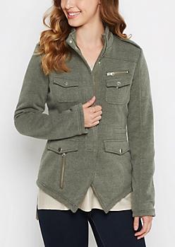 Marled Olive Knit Anorak Jacket