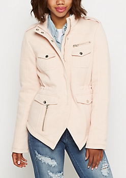 Marled Light Pink Knit Anorak Jacket