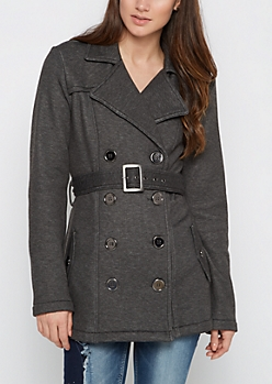 Charcoal Belted Faux Fur Peacoat
