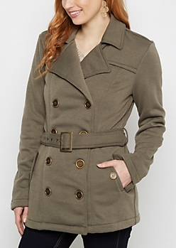 Olive Belted Faux Fur Peacoat