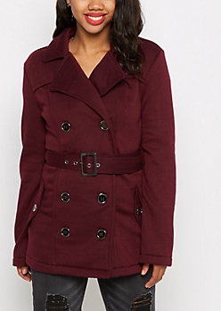 Burgundy Belted Faux Fur Peacoat
