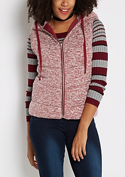 Burgundy Marled Knit Hooded Puffer Vest