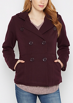 Plum Hooded Knit Peacoat