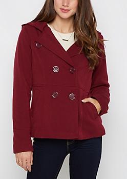 Burgundy Hooded Knit Peacoat