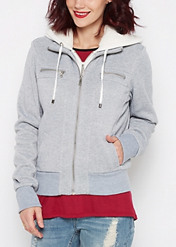 Gray Layered Zip Fleece Hoodie