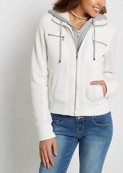 White Layered Zip Fleece Hoodie