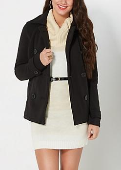 Black Fleece Pea Coat