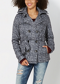 Black Marled Hooded Trench Coat