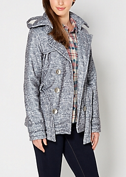 Gray Marled Hooded Trench Coat