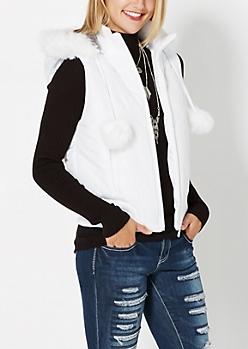White Pom-Pom Puffer Vest