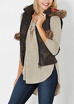 Camo Pom-Pom Puffer Vest