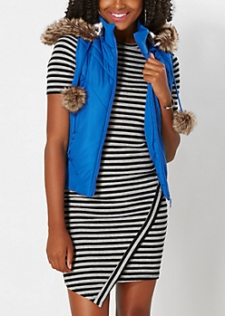 Royal Blue Pom-Pom Puffer Vest