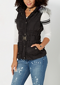 Black Hooded Quilted Puffer Vest
