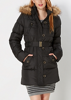 Belted Faux Fur Hooded Puffer