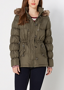 Green Faux Fur Hooded Anorak